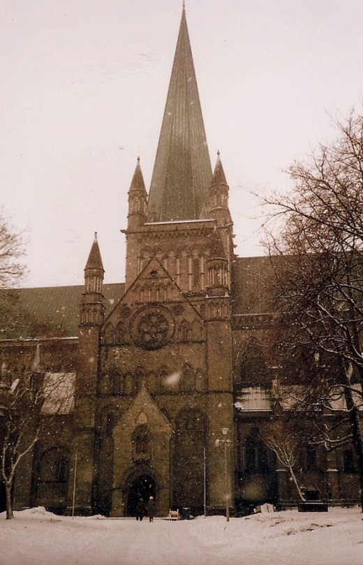 Trondheim, Nidaros Cathedral in the midst of a snowstorm.  This is the traditional location for the consecration of the King of Norway.