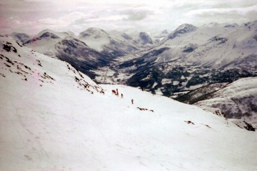 The ski slopes in Stranda are some of the best in the world (no really, other, more important ski type people have claimed this, not me!).    The tiny people in the center of the picture are friends of mine, way ahead of me because they were skiing d