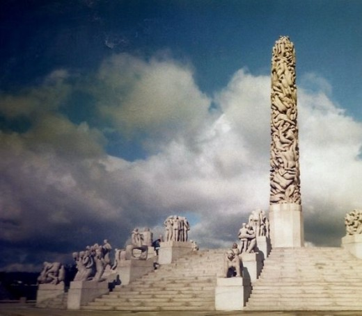 The Monolith (tower in the center) was carved from one block of granite (multiple spokes of statues lead up to the center tower of people)
