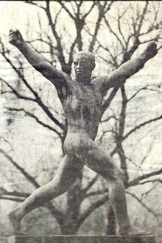 A newspaper photo of one of the sculptures (from 1987)