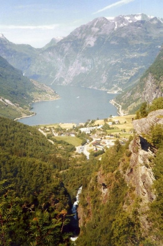 The view from the top.  You are looking at the town of Geiranger and the fjord beyond.
