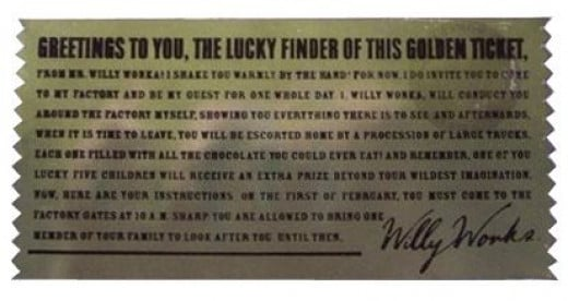 Charlie & The Chocolate Factory  Golden Ticket - Back