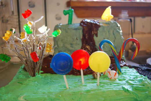 Willy Wonka Birthday Cake with Gummy Bear Tree and chocolate waterfall