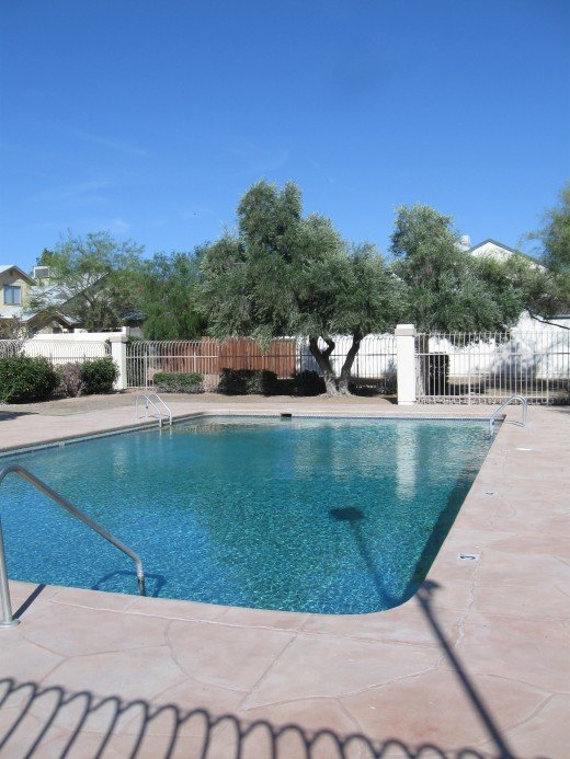 Condominiums and townhouses often include a pool as part of the common property.