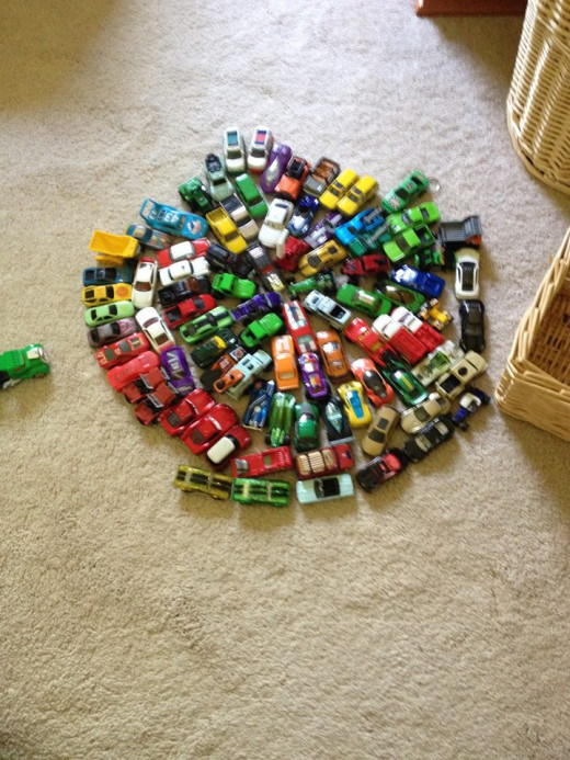 Max's cars are arranged in a symmetrical pattern. Photo used by permission.