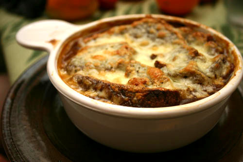 organic French onion soup with rye bread and Swiss cheese, toasted