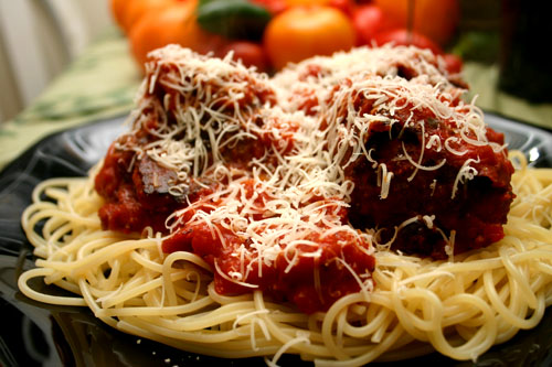 bison meatballs in marinara, over spaghetti