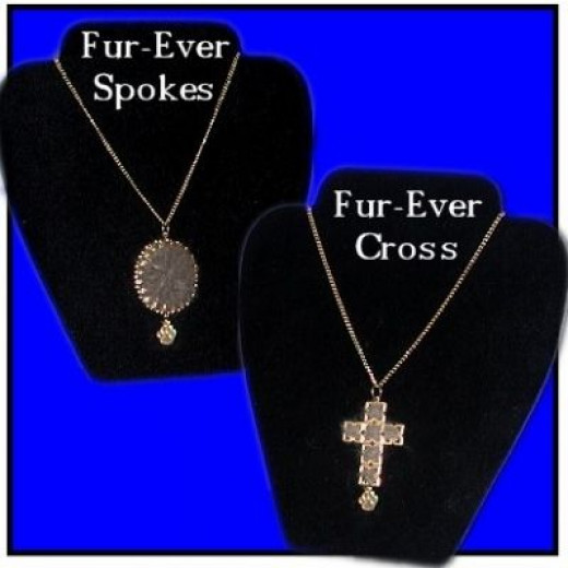 PET-ABLE PENDANT-SPOKES and PET-ABLE PENDANT-CROSS made from your Pet Fur - From VIP Fibers