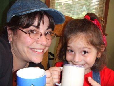 Me and my daughter enjoying a HOT cup of Coffee - Bottoms Up!!