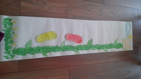 Outline the beanstalk with marker pen, glue on leaves and you're done