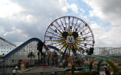 The Huge Ferris Wheel and Roller Coaster at Disney California Adventure Park