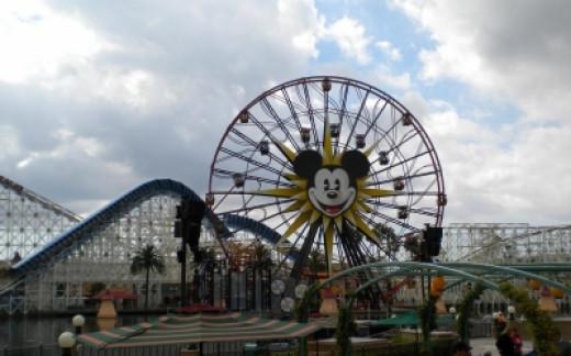The Huge Ferris Wheel and Roller Coaster at Disney California Adventure Park
