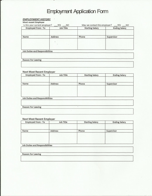 sample job application page 2