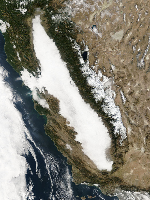 Tule Fog, a form of radiational fog in California