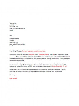 unemployed how to a job in today  s market  sample cover letter use when inquiring about a job