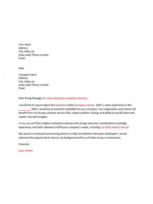 sample cover letter - use when inquiring about a job