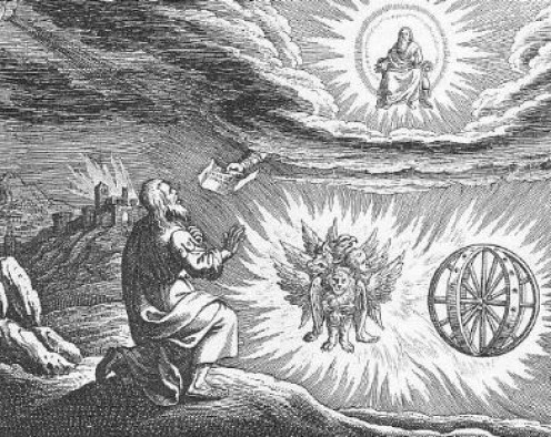 """"""" Engraved illustration of the """"chariot vision"""" of the Biblical book of Ezekiel, chapter 1, made by Matthaeus (Matthäus) Merian (1593-1650), for his """"Icones Biblicae"""" (a.k.a. """"Iconum Biblicarum"""")."""""""