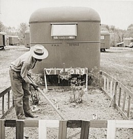 Victory Gardens were created even in the smallest spaces, as in this Virginia Trailer camp.