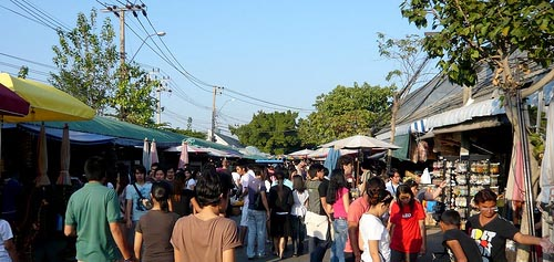 Chatuchak Weekend Market. Drink plenty of water, it can get hot.
