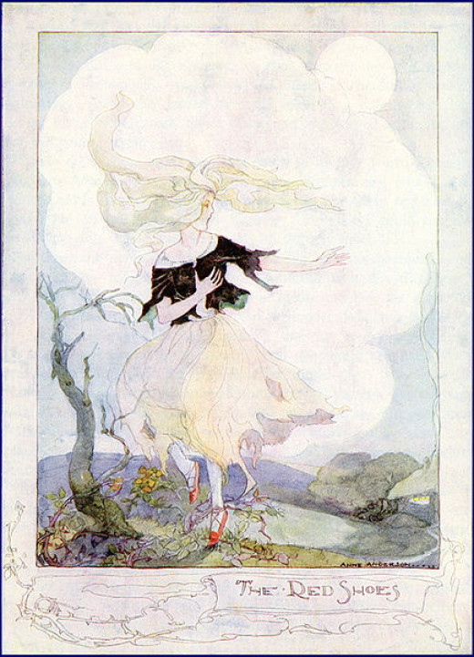 The Red Shoes illustration by Anne Anderson