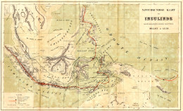 A map from The Malay Archipelago shows the physical geography of the archipelago and Wallace's travels around the area. The thin black lines indicate where Wallace travelled, and the red lines indicate chains of volcanoes.