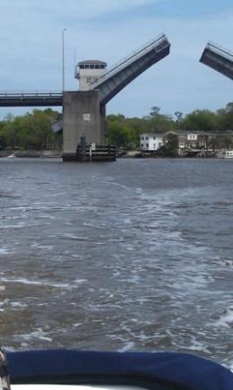 Cool, fun things to see on the water.  This bridge opened for a sailboat to get through.