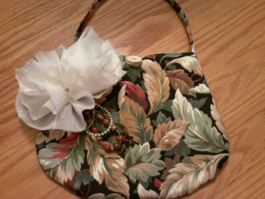 Bag with Cream Tulle Flowers and Beading