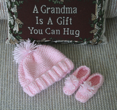 Bundle of Love Knitted Newbie cap and booties!