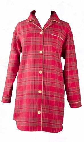 Boyfriend sleep shirt in red plaid. Also available in other colors.