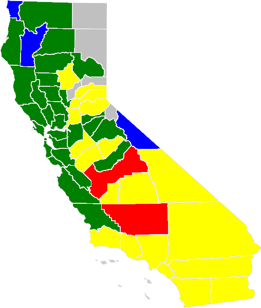 The majority of the counties days fall in to:  Blue (excellent), Green (good), Moderate (yellow), unhealthy (for sensitive groups) (red). Counties in gray: no data.