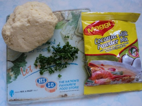 Dough, finely chopped chive & parsley along with Coconut Milk Powder