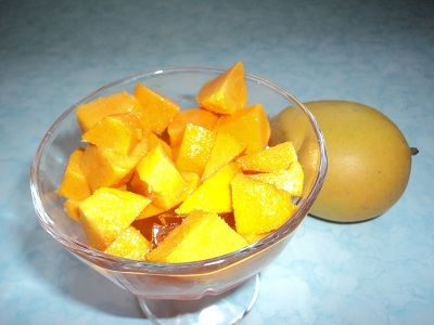 Whole Mango - Diced Mango in Dessert Dish