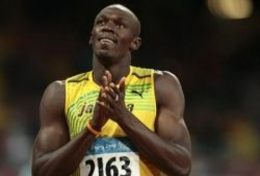 Usain Bolt after winning a race