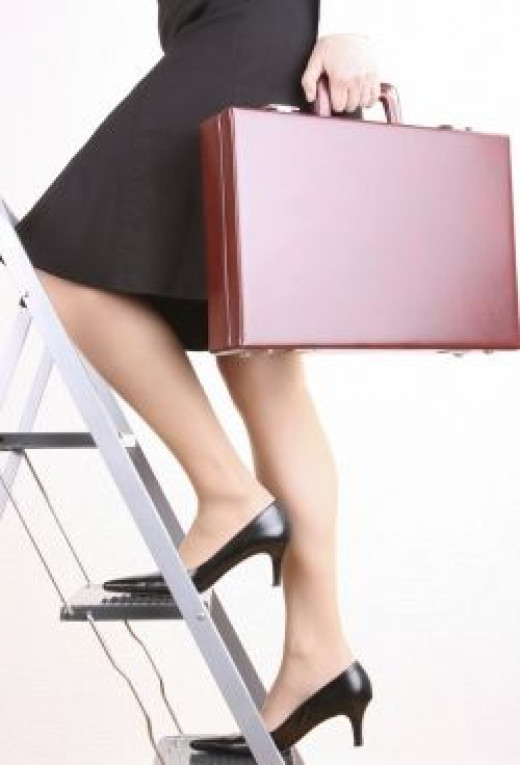 Working woman - Business woman - climbing the corporate ladder with briefcase