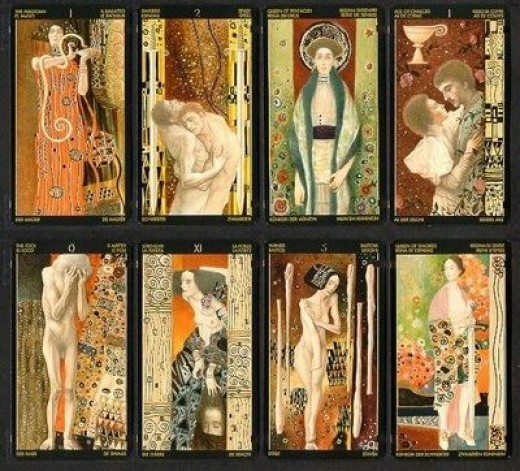 Secret Tarot Cards by Gustav Klimt