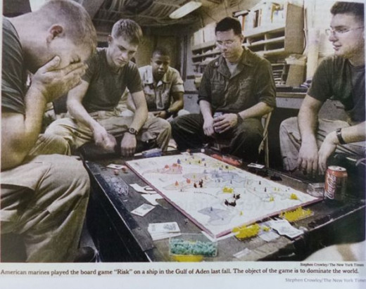 Artwork by Sigmar Polke, Soldiers playing the board game Risk on a battleship