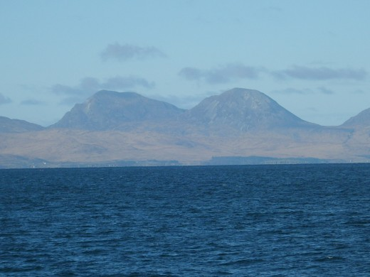 The Paps of Jura seen from the passenger ferry en route to Islay