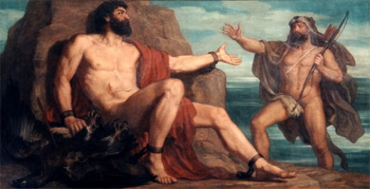 Herakles frees Prometheus, by Christian Griepenkerl (1839-1912)