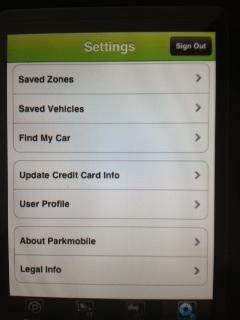 Parkmobile Settings Screen