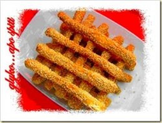ouzo crispy breadsticks, greek cooking