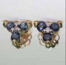 Diamond and Sapphire earrings in 14k  yellow gold