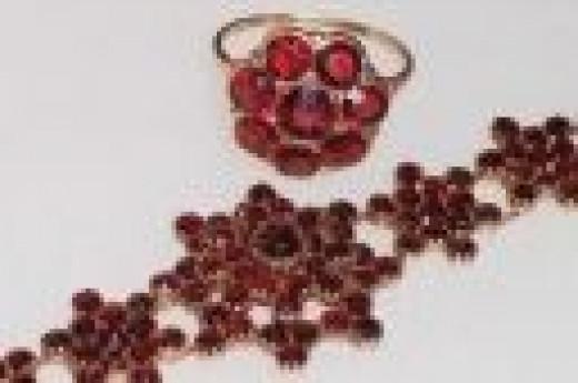 Victorian Jewelry Garnet Bracelet and ring