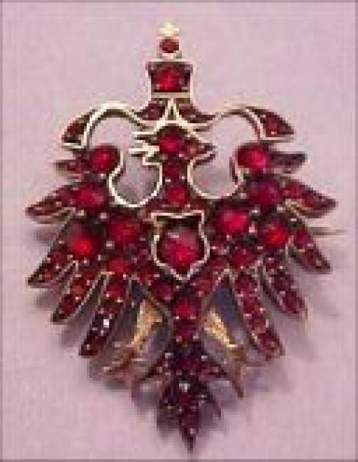 Victorian Jewelry German Eagle Garnet Brooch