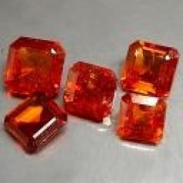 Orange Hessonite Garnet Octagon cut Squares