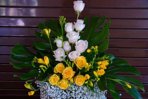 Reception arrangement with white and yellow roses, gypsophilia, monstera leaves and freesia.