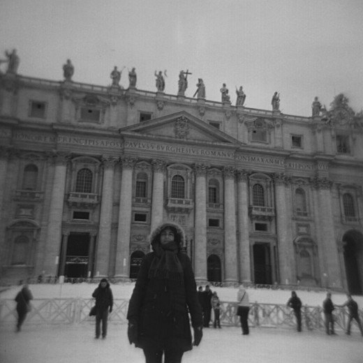 Piazza San Pietro in the snow taken with a Holga 120N