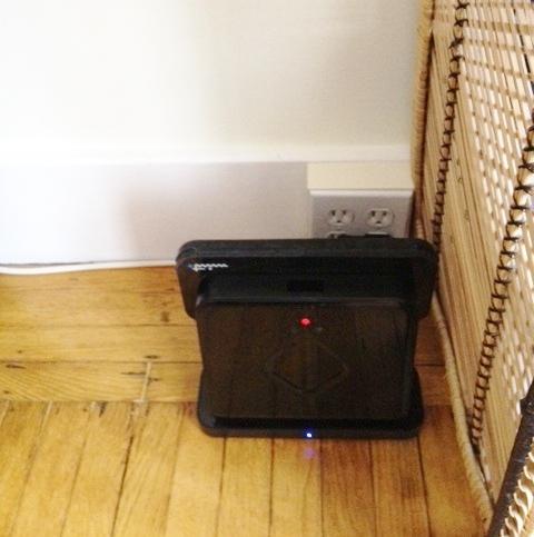 Mint Robotic Floor Cleaner recharging on the Turbo-Charger Cradle