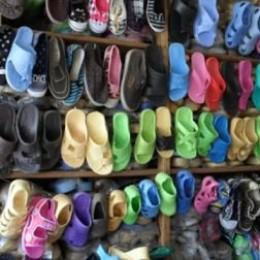 a display of shoes for sale