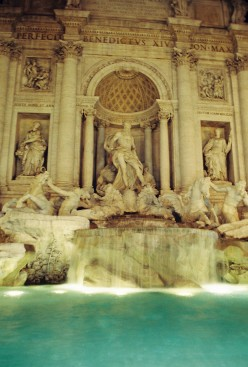 Trevi Fountain. The marble and the water were just beautiful all lit-up.