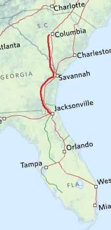 Amtrak train route